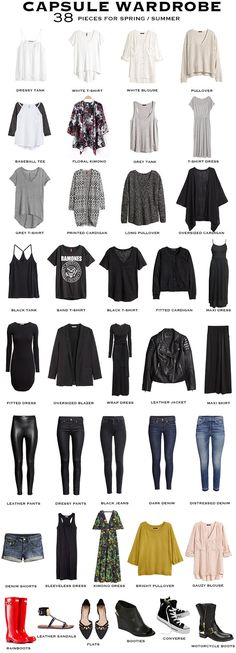 A 38 piece Capsule Wardrobe for Spring / Summer. A 38 piece Capsule Wardrobe for Spring / Summer. Casual Outfits, Cute Outfits, Fashion Outfits, Fashion Tips, Work Outfits, Fashion Clothes, Fashion Ideas, Fashion Trends, Diy Kleidung