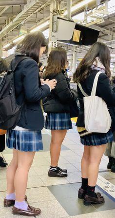 Checkered Skirt, Brown Loafers, High Socks, Denim Skirt, School, Skirts, Anime, Black, Style