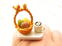 Kawaii Ring Food Coffee Cookies  Miniature Food by SouZouCreations, $15.00