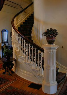 Beautiful spiral staircase of California's historic Governor's Mansion by Lenny La Rue, IPA
