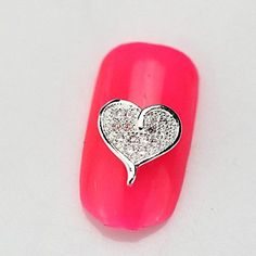 Kaifina 10PCS RG124 Heart Style Luxury Zircon 3D Alloy Nail art Decoration Diamond Nail Salon Supplier DIY Accessories Decals * Continue to the product at the image link.