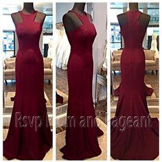 2015 Long Dresses Evening Scoop Neckline Mermaid Sleeveless Stretch Satin Floor Length Women Formal Burgundy Evening Gowns