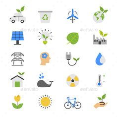 Eco Energy and Environment Flat Color Icons by karawan This is graphics vector Illustration icons. Ready to use for websites, social medias, presentations, applications, info graphic an