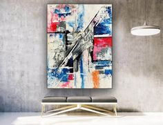 Painting On Canvas Large Original Oil Paintings House image 2 Colorful Artwork, Colorful Paintings, Original Paintings, Original Art, Oil Paintings, Oversized Wall Art, Extra Large Wall Art, Office Wall Art, Modern Wall Decor