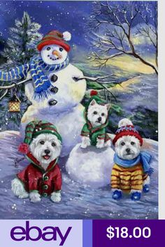 West Highland Terrier Snowballs by Suzanne Renaud Christmas Scenes, Christmas Animals, Christmas Pictures, Christmas Snowman, All Things Christmas, Christmas Crafts, Merry Christmas, West Highland Terrier, Highlands Terrier