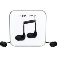 HAPPY PLUGS Black in-ear headphones ($46) ❤ liked on Polyvore featuring accessories, tech accessories, ear bud headphone, headphone earbuds, black earbuds, iphone earbuds and happy plugs