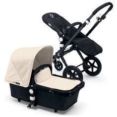 Bugaboo Cameleon 3 Black Base with Black Chassis & Extendable Hood in off white