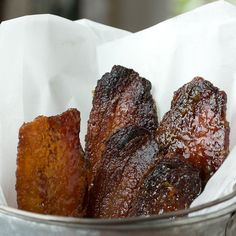 Brown Sugar Glazed Bacon.  We added maple syrup to this recipe (using our Truelove Farms bacon, obviously).... dynamite!