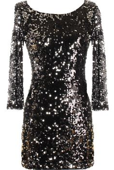 Infinite Galaxy Dress: Features an elegant bateau neck with deep V-design to the back, well-tailored 3/4-length sleeves, hundreds of glittering sequins covering the entire dress, and a sleek form-fitting silhouette to finish.