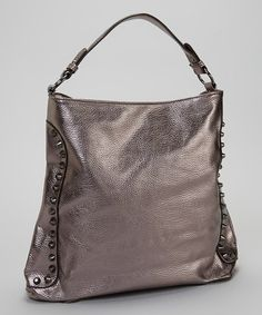 Take a look at this Pewter Metallic Stud Vegan Leather Hobo by STUDIO 36 on #zulily:  $24.99/  $79.00