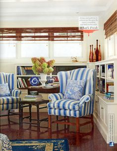 Renovation Style Early Spring 2010, stripes and patterns in blue and white.
