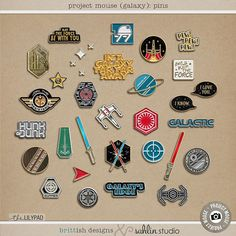Project Mouse (Galaxy): Enamel Pins by Britt-ish Designs and Sahlin Studio - Perfect for all of your Disney Tomorrowland and Star Wars layouts, in your scrapbookings or Project Life albums!!