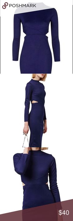 """Topshop Paneled Long Sleeve Midi Dress A paneled midriff with cutout sides offers a glimpse of bare skin in this long-sleeve body-con dress cut from soft crepe.  FITS LIKE A 0-2. 45"""" length Long sleeves. Unlined. 100% polyester. Machine wash warm, dry flat. US 4, UK 8. Fits like a US 0-2 NEW WITHOUT TAGS Topshop Dresses"""