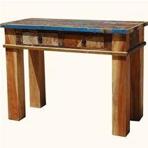 >Distressed Multi Color Secretary Desk with Carved Back.