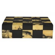 "With a pattern created by alternating marbled and solid resin tiles, our Marbled Checker Box will handsomely house treasured keepsakes, jewelry or desk accessories.    •9""W x 7""D x 2.5""H		  •hand crafted  •marbled and solid resin tiles  •wood base  •black interior  •lift-off lid"