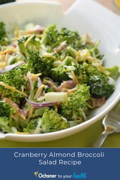 This Cranberry Almond Broccoli Salad by food blogger and bestselling cookbook author Kyndra Holley is packed with antioxidants, is keto-friendly and makes a delightful addition to a summer lunch spread. Cranberry Almond, Broccoli Salad, Keto, Author, Lunch, Healthy Recipes, Vegetables, Summer, Food