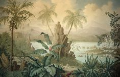 Tropical landscape - part of a hand painted mural triptych by Lucinda Oakes Scenic Wallpaper, Of Wallpaper, Jungle Art, Wall Murals, Wall Art, Deco Floral, Tropical Landscaping, Tropical Art, Tropical Gardens