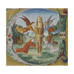Giclee Print: Saint Mary Magdalen Surrounded by Angels by Maestro del Salomone Wildenstein : Illuminated Letters, Illuminated Manuscript, Santa Maria Magdalena, Angel Images, Medieval Art, Medieval Life, Mary Magdalene, Cool Posters, Middle Ages
