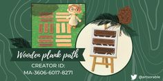 Wood Path, Motif Acnl, Path Design, Border Design, Motifs Animal, Animal Crossing Game, Island Design, Wood Patterns, Christmas Animals