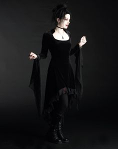 Circee Gothic Dress in Velvet with Dramatic Cuffs - Custom Dark Romantic Gothic Clothing (black or burgundy)