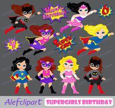 50% OFF Venta Superchicas niña superhéroe Clip Art / imágenes
