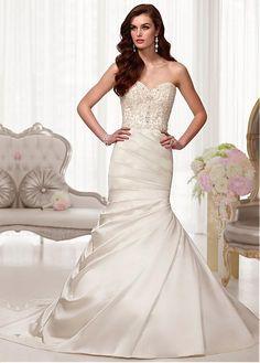 Elegant Sweetheart Natural Full Length Mermaid Trumpet Court Wedding Dresses 2015