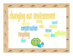 This study guide and corresponding quiz covers important vocabulary about ways we change and care for our environment for third grade social studies. A wordle with the vocabulary words is also included.    The following words are included: modify, tunnel, canal, terrace, irrigation, dam, levee, reservoir, mining, pollution, conservation, and recycling. $
