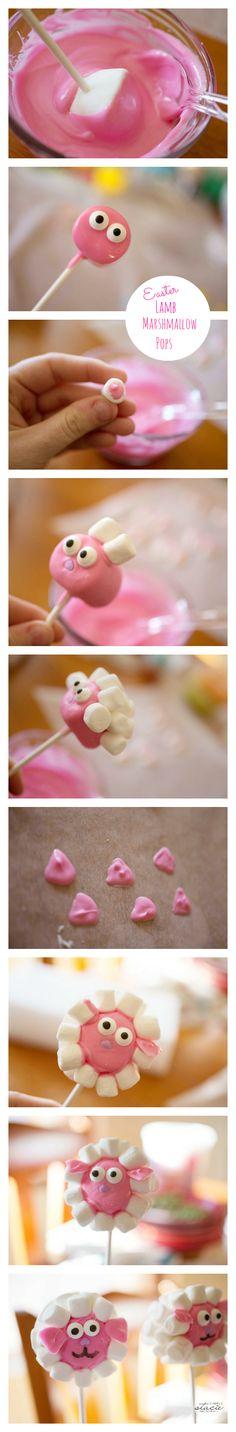 Easter Lamb Marshmallow Pops