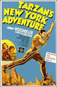 arzan's New York Adventure is a 1942 film, the sixth Tarzan film to feature actors Johnny Weissmuller and Maureen O'Sullivan. This film was the sixth and final film in MGM's Tarzan series and was the studio's last Tarzan film until their 1958 release, Old Movie Posters, Classic Movie Posters, Cinema Posters, Classic Movies, 1940s Movies, Old Movies, Vintage Movies, Tarzan Series, Tarzan Movie