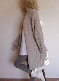 Women's Cable Knit Sweater Knitted Merino Wool Cardigan от Pilland