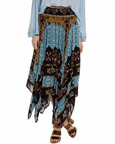 """Free People """"Flyaway"""" Taupe Combo Printed Midi Skirt, 49.99$ from 128$"""