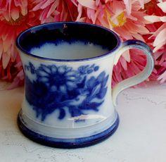 Beautiful Vintage Flow Blue Semi Porcelain Mug ~ Floral   eBay