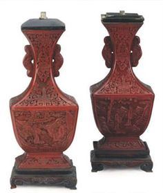 Cinnabar Vase Value | TWO SIMILAR CHINESE CINNABAR LACQUER HU-FORM VASES MOUNTED AS LAMPS ...