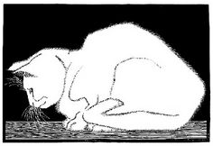 "M. C. Escher (1898-1972), Dutch graphic artist - ""White Cat II"", 1919, woodcut"