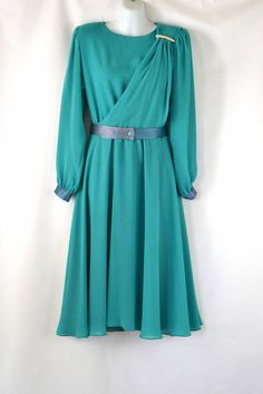 69a76e9e034 1970s Teal Sheer Poly Chiffon Dress by Ursula of Switzerland Petite