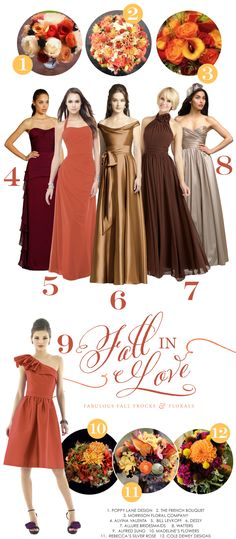Fall in Love - Bridesmaid Dresses and Wedding Bouquets in autumn tones
