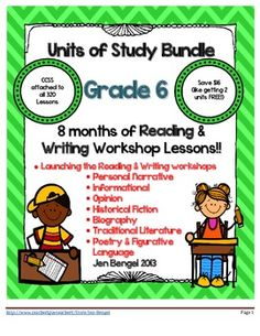 I am so excited to announce that I have created a bundle of all 8 units of study available in my store. This is 8 months worth of reading and writing workshop lessons (320 in all) that cover EVERY...SINGLE...Common Core State Standard in sixth grade for Reading:Literature, Reading:Informational, and Writing!! You will be set for the year! Save big by purchasing them all in one set!