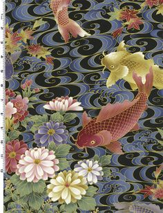 Koi Garden.  Gold and dark rose colored koi fish with pink gold and lavender flowers on a swirling blue and black background.  Accented in metallic gold.