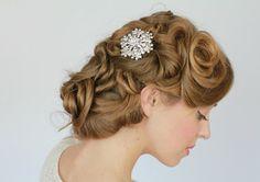 Vintage style  wedding  hair comb, bridal hair comb, crystal rhinestone , silver wedding hair, wedding hair accessories- Style 266. $53.00, via Etsy.
