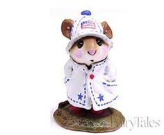 """April Showers 4th Of July M-180 Red, White & Blue By Wee Forest Folk® Sculpted by Annette. 1.375"""" x 1""""  4th of July Colors  Material: reinforced casting stone"""