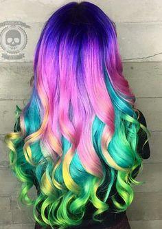 crazy hair color, Purple pink rainbow dyed hair color inspiration @hairbymonika.q