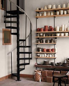 ceramics studio in modern farmhouse with spiral staircase. / sfgirlbybay