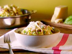 Tagliatelle with Smashed Peas, Sausage, and Ricotta Cheese - we often substitute the tagliatelle w/ spinach fettuccine