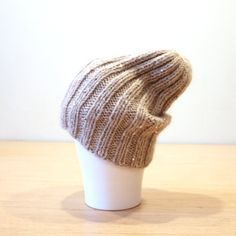 SALE Alpaca Merino beanie, Ribbed hat, Sequined hat, Slouchy beanie, Women's fashion beanie in beige, Shimmery knit hat