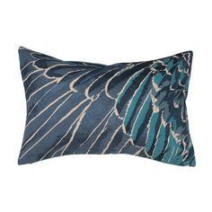 Fluttering Plume Pillow, Vibrant Blue
