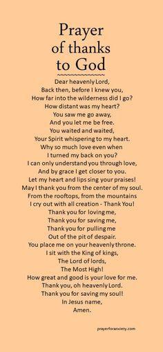 Prayer of thanks to God – Prayer For Anxiety Prayer Times, Prayer Scriptures, Bible Prayers, Faith Prayer, God Prayer, Power Of Prayer, Prayer Quotes, Bible Verses Quotes, Thankful Prayers