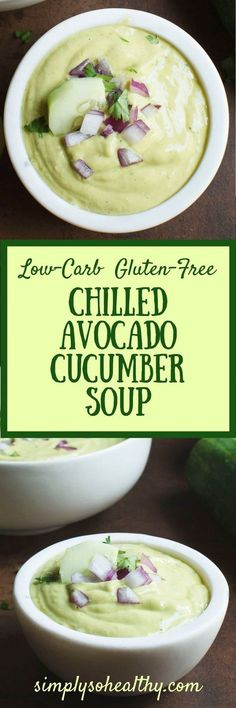 This Chilled Avocado Cucumber Soup makes a perfect starter to a summer meal. This creamy and delicious soup is suitable for low-carb, Atkins, diabetic, LC/HF, ketogenic, gluten-free, and Banting diets.