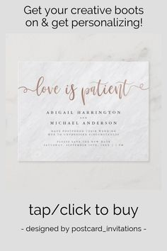 Shop Marble & Rose Gold Calligraphy Love Is Patient Invitation Postcard created by postcard_invitations. Postcard Invitation, Invitations, Invitation Ideas, Gold Calligraphy, Love Is Patient, Rose Gold Foil, Save The Date Cards, White Marble, Swirls