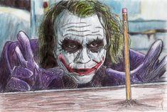 52 Super Ideas For Drawing Pencil Joker Heath Ledger Le Joker Batman, Heath Ledger Joker, Joker And Harley Quinn, Joker Art, Dc Comics, The Dark Knight Trilogy, Batman Artwork, Greatest Villains, Psy Art