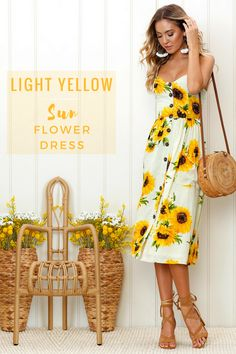 How fun is your summer? Show it by wearing this sunflower print dress to showcase your bright and fun summer!  #summer #sunflower #expressionation